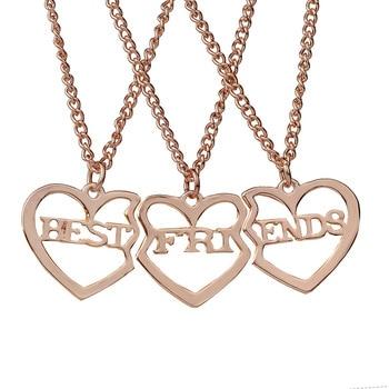 b051dd7308b1 3 unids set amistad regalo para Niñas hueco en forma de corazón carta  mejores amigos para siempre BFF Colgantes para 3 joyería de moda