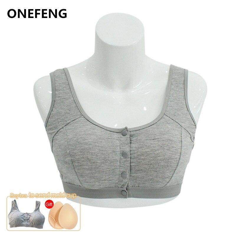 Onefeng 6031 fechamento frontal colete design mastectomia sutiã para prótese de mama silicone peitos