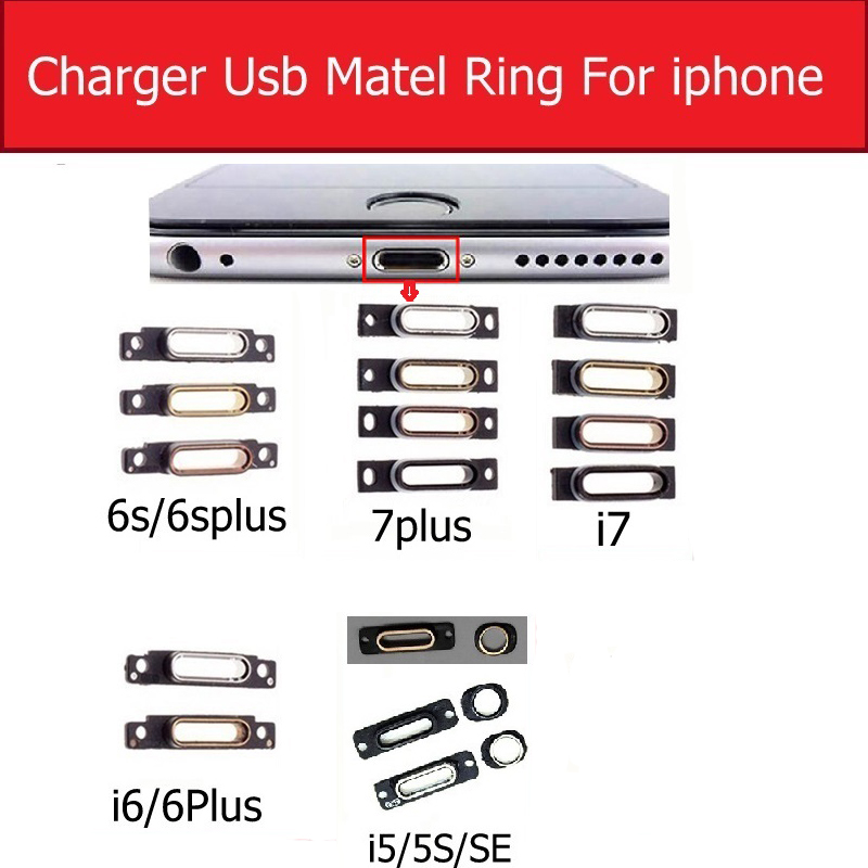Charger USB Connector Plug Port Metal Stand Hold Ring For IPhone 5 5S SE 6S 6 7 Plus Charging Jack Dock Bracelet Metal Ring