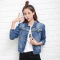 2017 Spring Denim Jacket Women Short Jeans Overcoat Ladies Jackets Tops Turn Down Collar Slim Blue Jeans Top High Quality