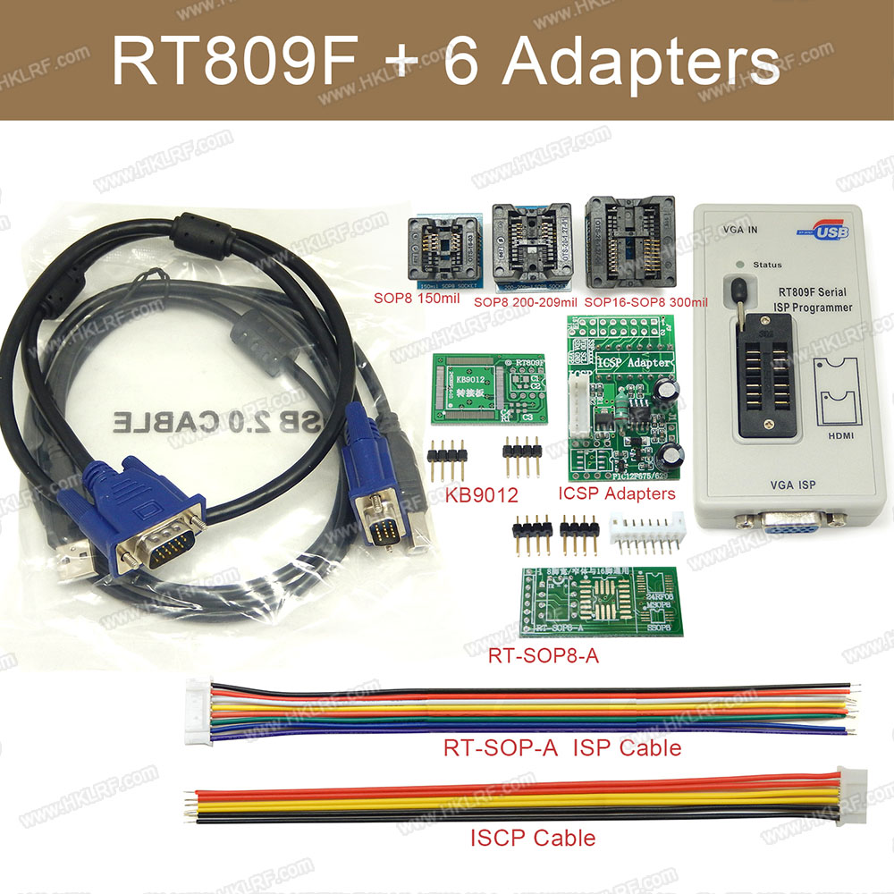 Rt809f Lcd Isp Programmer With 8 Adapters Sop8 Test Clip Icsp 3m Small Outline Integrated Circuit Clips Sotc8 Set Universal Eprom Flash Vga Avr 6 Adapter Socket