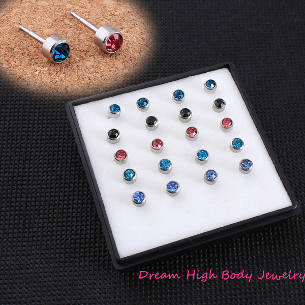 Piercing Tool Kit Ear Stud Piercing Gun for Piercer Ring 4mm Gem Mixed Colors 316l Stain ...
