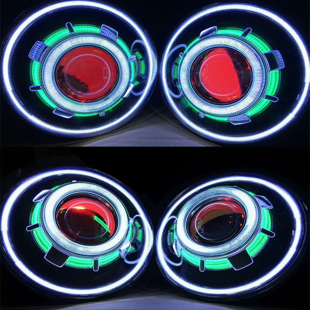 SXMA 7 Inch 35W LED projector healight with Red White Blue Angel Eye Demon Eye Halo LED headlamps with Angel Eye (A)