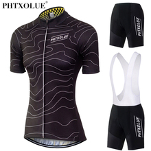 Phtxolue Team Cycling Jersey Sets Women MTB Bike Bicycle Kit Black White Maillot Ciclismo Wear Clothing 2017