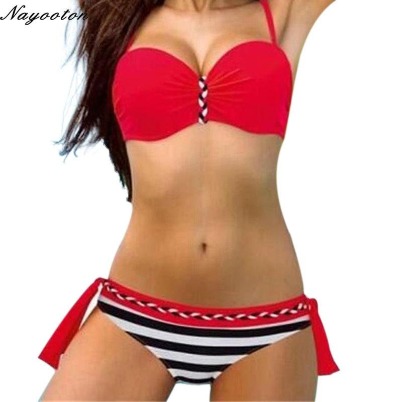 2018 New Women's Bikini swimwear candy color Swimsuits Swimwear Push Up Bikini Set Women's Plus Size Swimsuit D0124-2