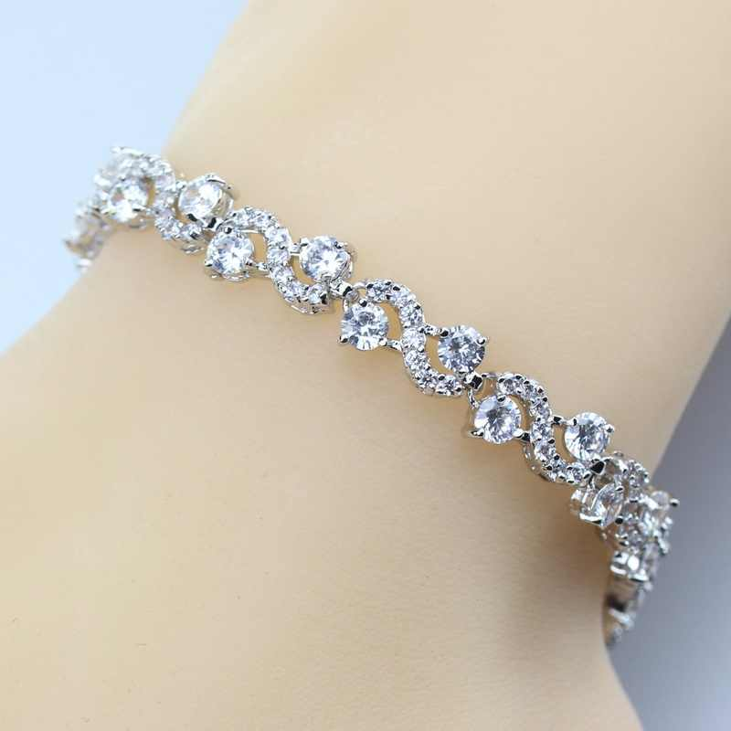 925 Silver Color Link Chain Bracelet Wedding Bridal White Crystal Women Wedding Jewelry Free Shipping And Gift Box SL61