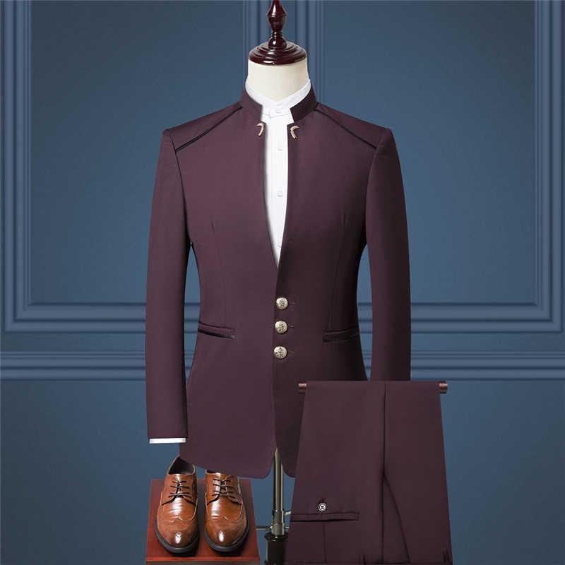 2019 新メンズスーツジャケット + ベスト + パンツサイズ S-4XL 、青赤黒メンズスリーピースセット