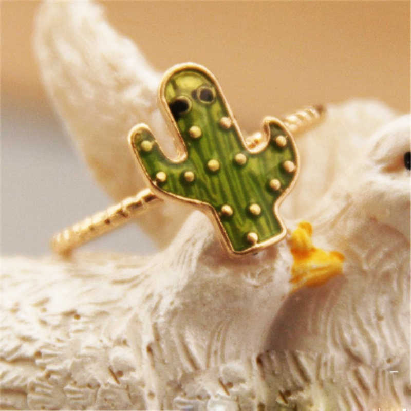 New Fashoin Exquisite Glamorous Zinc Alloy Kawaii Cactus Ring Accessories  for Women Party