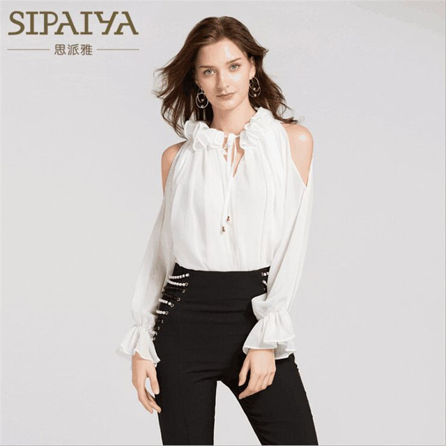 b76d1ba0c25ad5 SIPAIYA Brand New Fashion Women Tops Chiffon Shirts Puff Sleeve Ruffled  Blouses Sexy Slim Office Lady