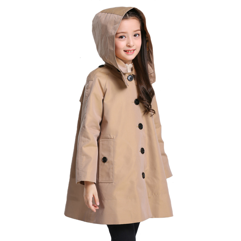 Autumn Coat Girls Coat with Hat 2018 Brand Fille Khaki Clothing Children Long Style Outwear for Baby High Quality 6y-10yAutumn Coat Girls Coat with Hat 2018 Brand Fille Khaki Clothing Children Long Style Outwear for Baby High Quality 6y-10y
