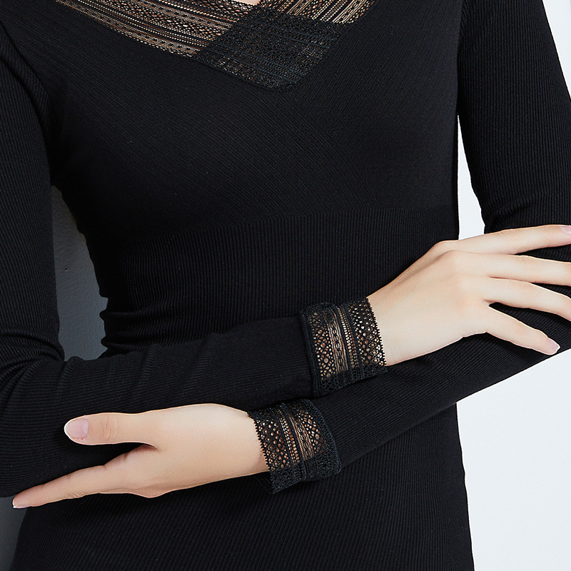 Double sided V Neck Lace Thermal Shirt For Women Sexy Body Slimming Underwear Female Second Skin Black Thin Lace Ladies Tops in Long Johns from Underwear Sleepwears