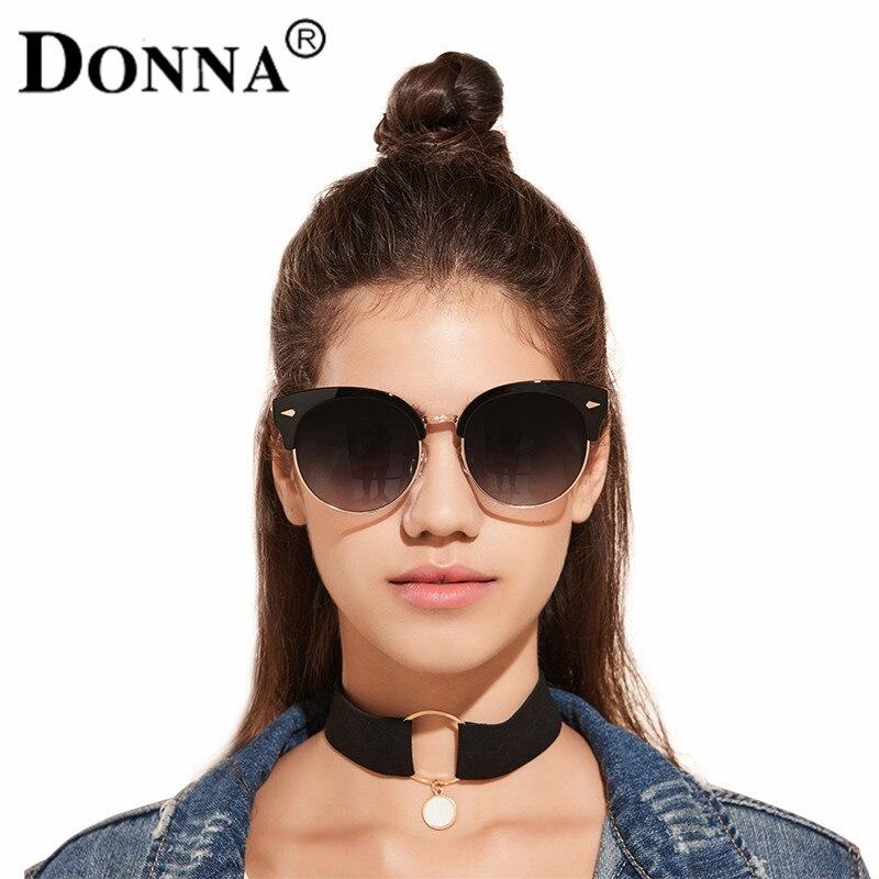 clubmaster sunglasses womens vn8l  DONNA Rivet Cateyes Fashion Luxury sunglasses Men Oversized Half Frame Club  Master Vintage Sunglasses For Women