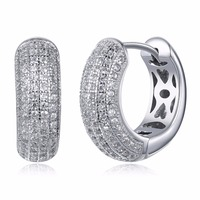 New Fashion Cubic Zirconia Small Hoop Earrings For Women Cute Design White Gold color 925 Silver Jewelry Earring