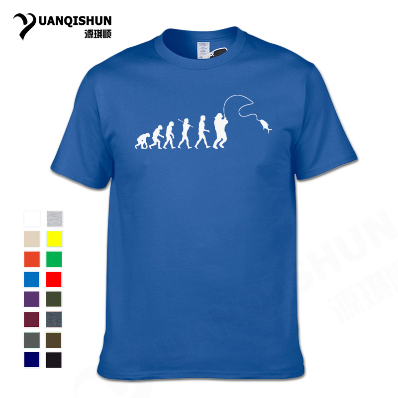 New Evolution Fishinger Tee Shirt Men Summer Fish Joke Fisherman Carp T-shirts 16 Colors Cotton Short Sleeve Funny Gift T-shirt