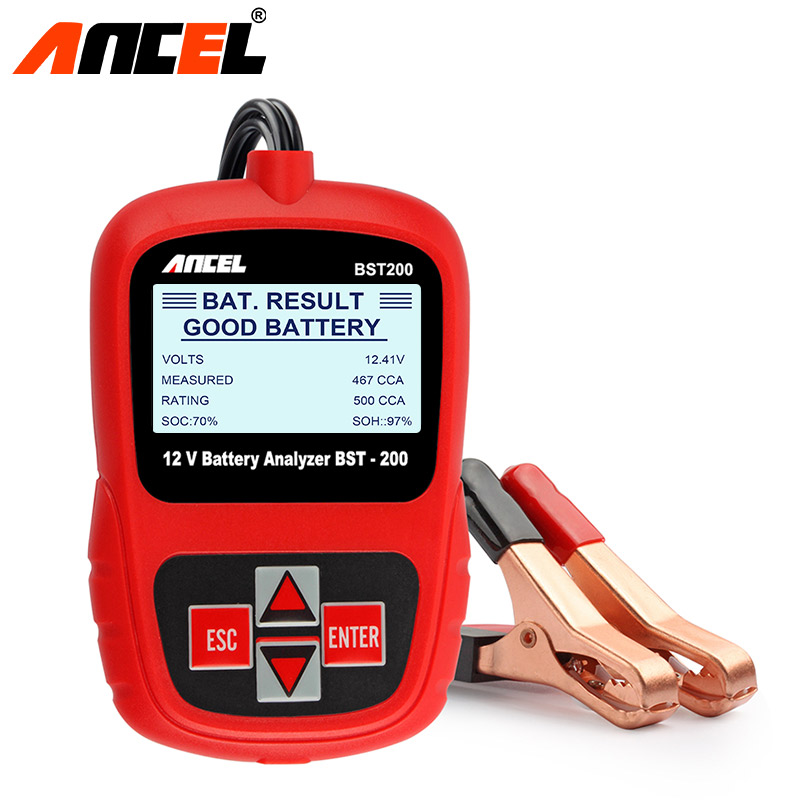 ANCEL Bst200 Car Battery Tester Multi-language 12V 1100CCA Battery System Detect Automotive Bad Cell Battery Diagnostic Tool vdm ucandas wifi full system automotive diagnostic tool multi language newest version v3 73 include for h onda adapter