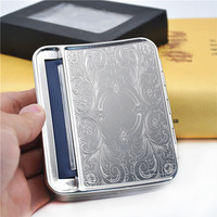 Silver Metal 78mm Automatic Cigarette Tobacco Roller Rolling Machine Box Case For 78mm Papers.Pattern Random