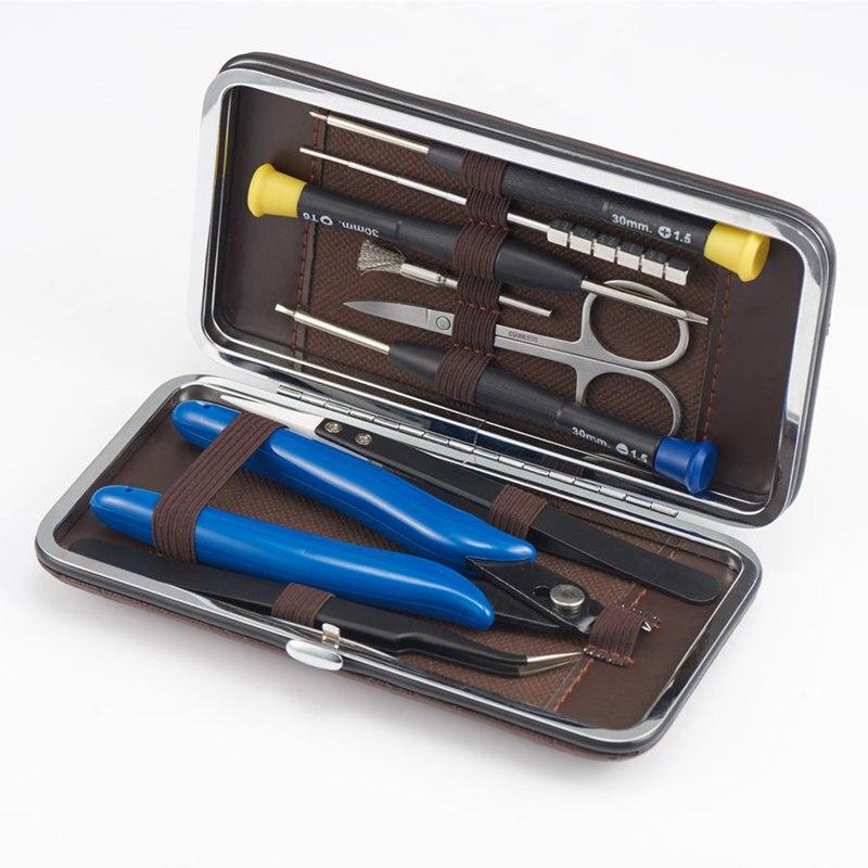 DIY cigarette électronique sac à outils paquet de stockage en céramique pince à épiler accessoires 9 ensembles e cigarette
