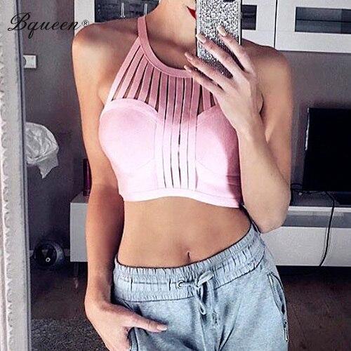Bqueen 2017 Nueva Pink Striped Patchwork Ahueca Hacia Fuera el Vendaje Tanques Top Crop Top