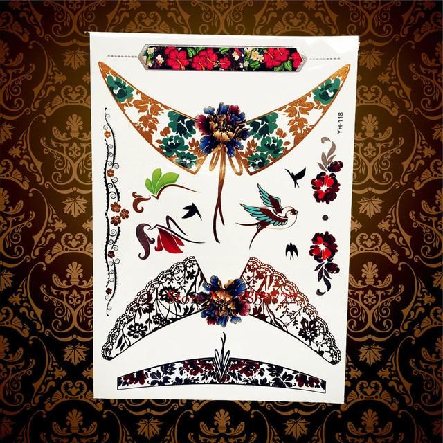 Us 0 89 New Designer Malaikat Sayap Emas Kilat Logam Tato Temporer Stiker Henna Hyh118 Terbang Burung Tahan Air Tato Tatouage Taty Di Sementara Tato