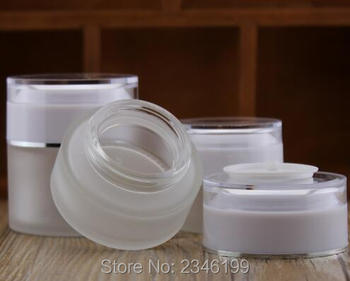 50G 50ML Frost Glass Bottle, White Acrylic Cap, Acrylic Inner Cap Cosmetic Packing Container, Empty Lotion Cream Jar, 12pcs/lot