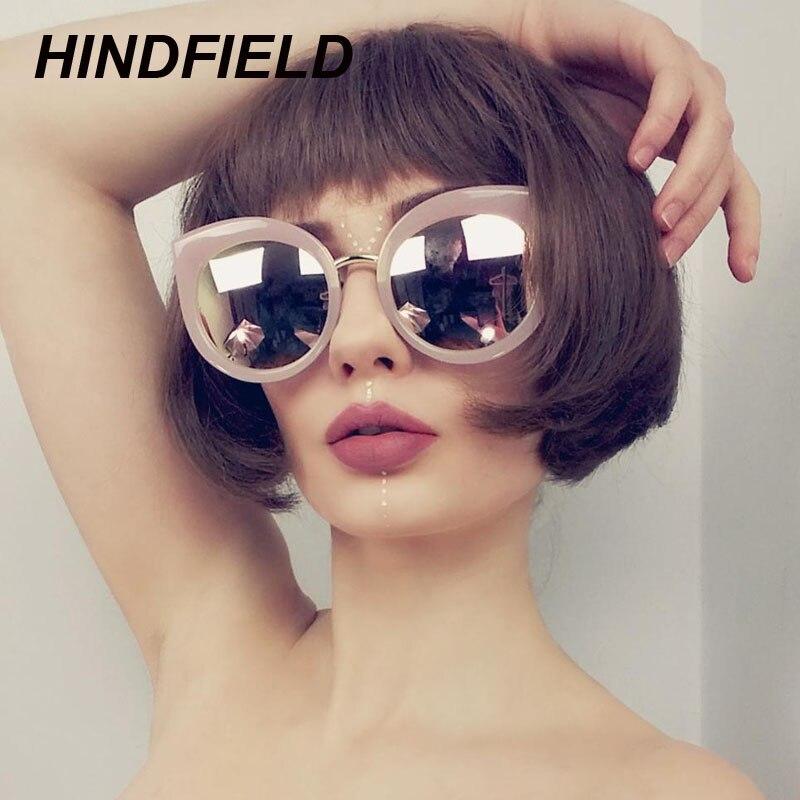 Pink Cat Eye Sunglasses Women Brand Designer Black Round Lens Mirror Sun Glasses 2018 Trendy Female Oculos Gradient lunette