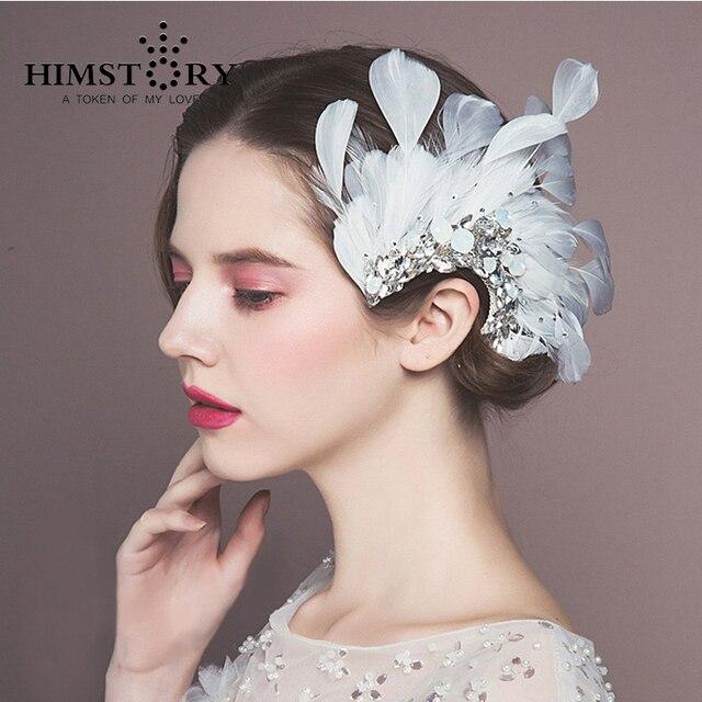 HIMSTORY Europeo New Design bianco Piuma di Pavone Copricapo Da Sposa Strass  Sposa Accessori per Capelli 9bd050640c6f