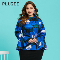 Plusee Shirt Plus Size 3XL 4XL Women 2018 Spring Blue Slim Floral Color Block Print Pullover