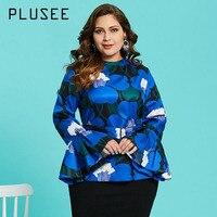 Plusee Shirt Plus Size 3XL 4XL Women 2018 Spring Blue Slim Floral Color Block Print Pullover