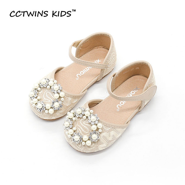CCTWINS KIDS 2017 Summer Girl Lace Fashion Children Pearl Baby Brand Mary Jane Strap Sandal Kid Princess Rhinestones Flat B658