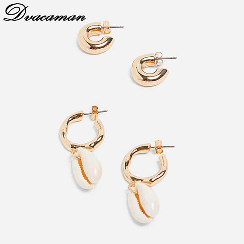 Dvacaman 2019 Fashion Real Natural Pearl Drop Earrings Women Shell Metal Statement Earrings Wedding Party Gifts Jewelry Bijoux