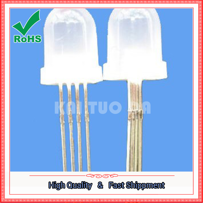 Free Shipping One Lot 10pcs 10MM LED DIODE Round RGB LED Diffused Common Anode LED Light Emitting Diode