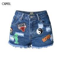 ORMELL 2017 Summer High Waist Denim Shorts Women European And American BF Female Blue Pattern Loose