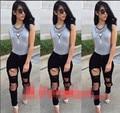 2015 High Waist Jeans Woman Knee Skinny Pencil Pants Slim Denim Ripped Boyfriend Jeans For Women Black Ripped Jeans for women