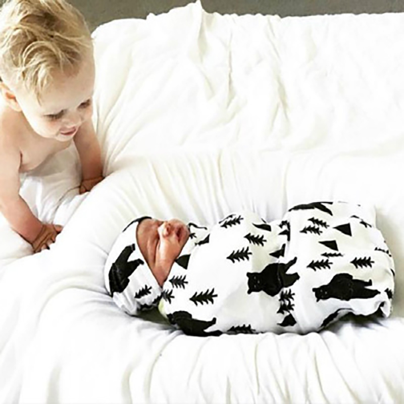 2Pcs Newborn Baby Sleeping Bags Cotton Blancket & Cap Swaddling Bag  Newborn Infants Sack Bedding Neonatal Wrap Suits