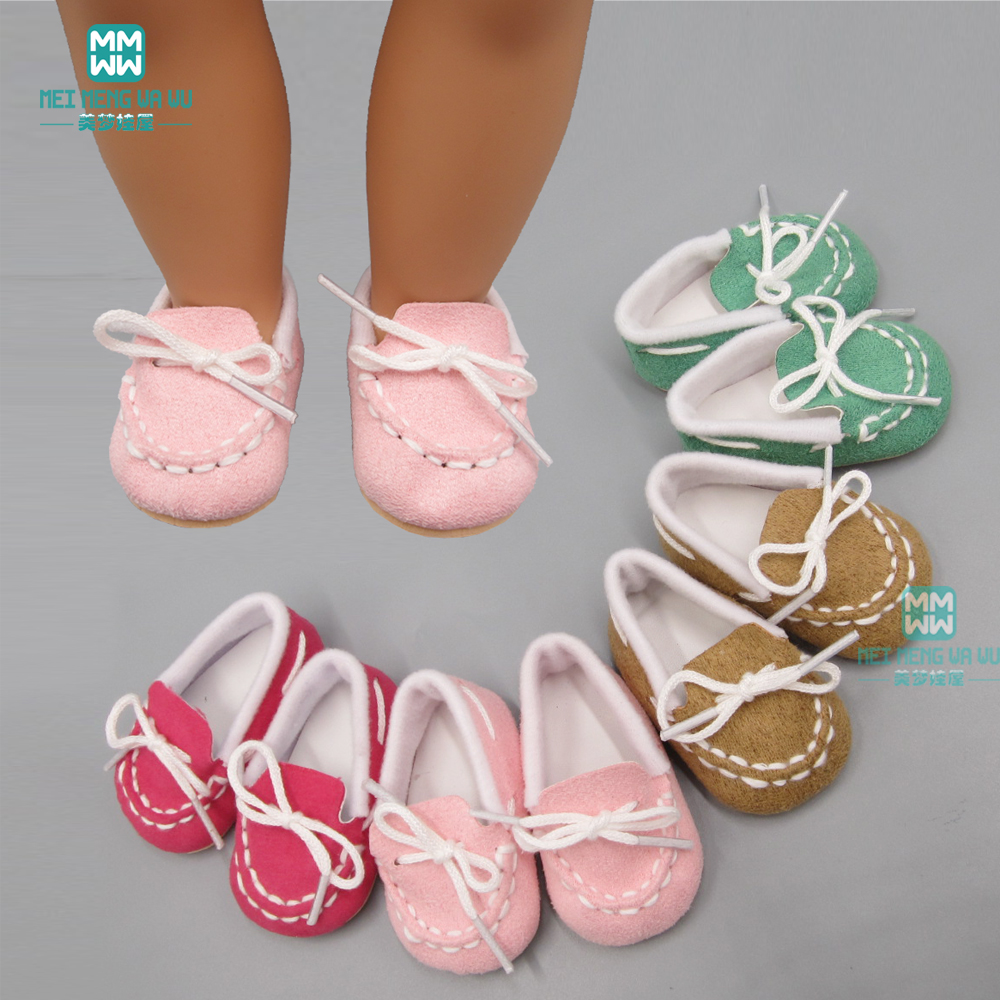 7cm Mini Doll Shoes Fits 43 Cm New Born Dolls Accessories And American Doll Casual Flat Shoes Pink, Rose, Khaki