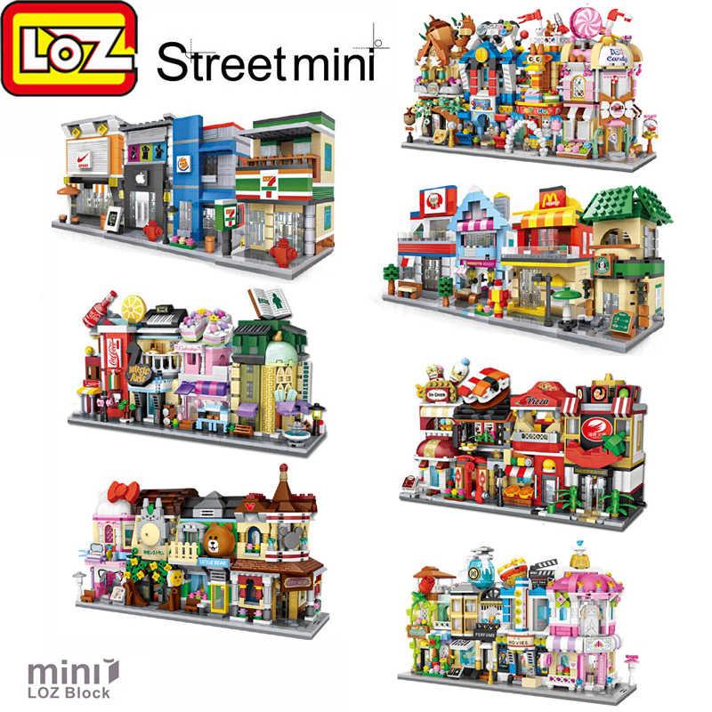 LOZ Mini handlowa ulica widok sklep scena klocki model kreatywny mały sklep brinquedos zabawka dla dzieci dziewczyna prezent