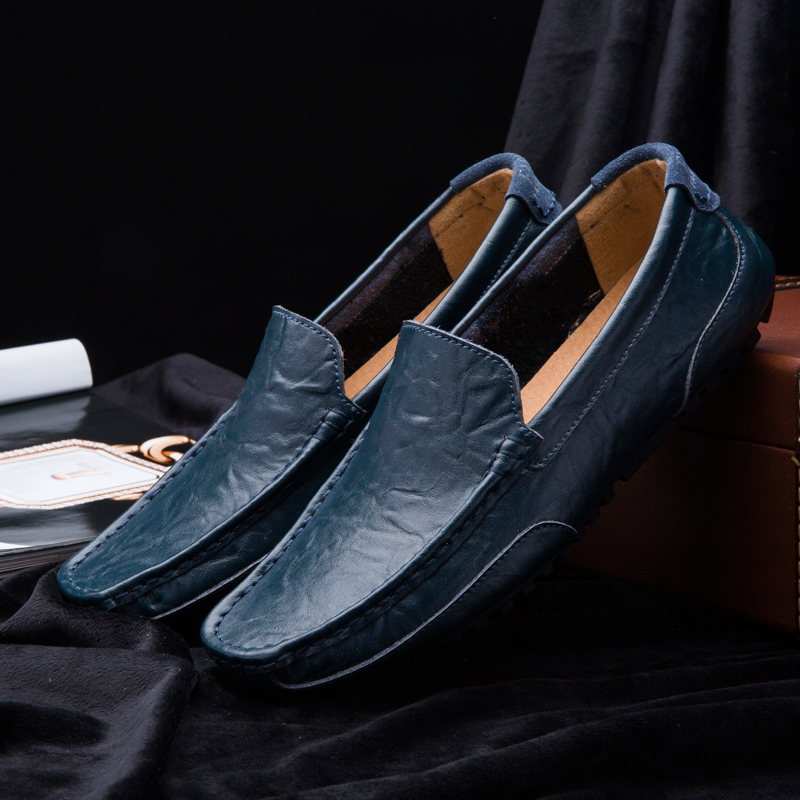 Moccasins Men Loafers Driving Shoes Soft Casual Shoes Men Flats Men Shoes Leather Loafers Big Size 46 Male 2019 Slip On RMC-081(China)