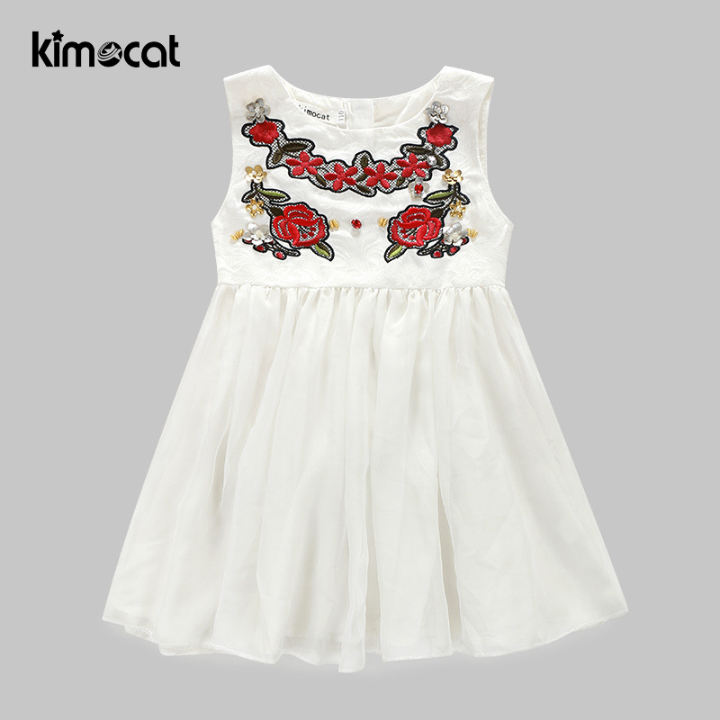 Kimocat Baby Girl Clothes Sleeveless Summer Girls Dress Flowers Embroidered High End White Lace Plicated Childrens Dress
