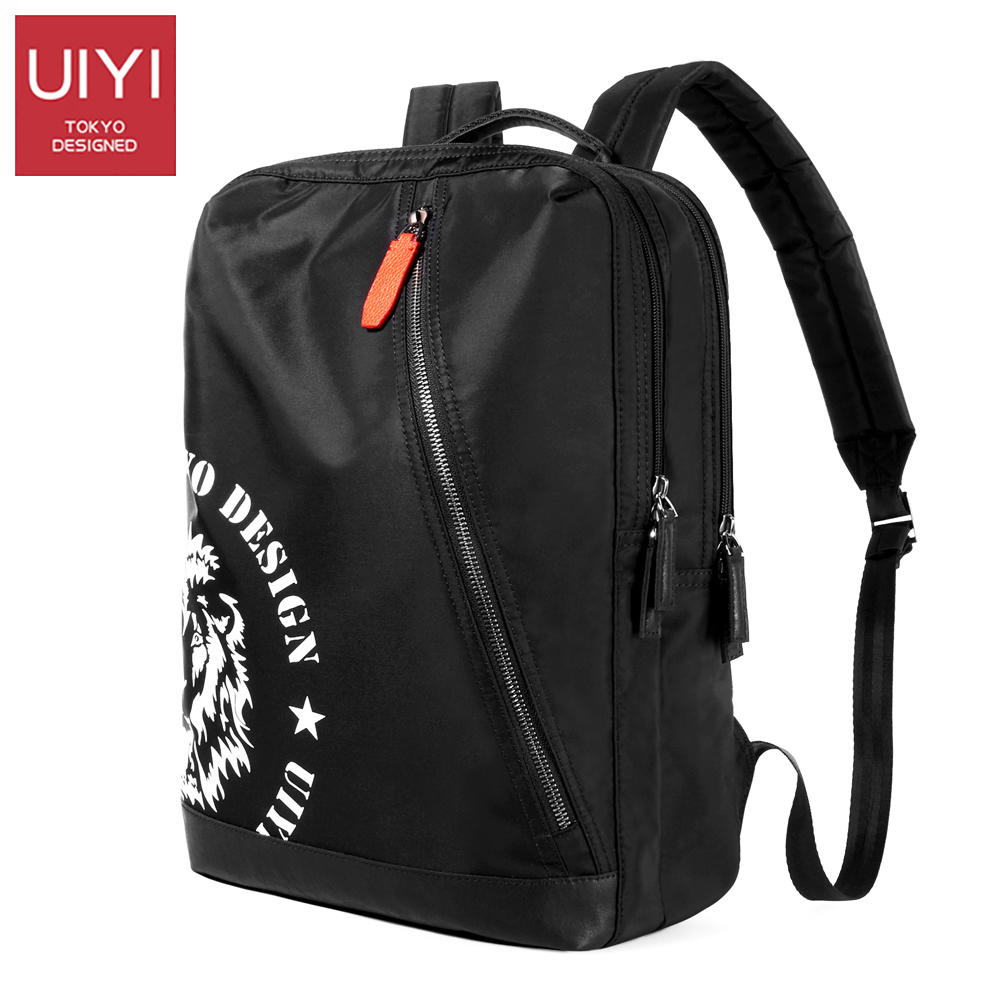 UIYI Men's nylon black backpack Waterproof backpack fashion shoulder bag 2018 new Male casual double pocket backpack #UYB7061 nylon double shoulder bag backpack
