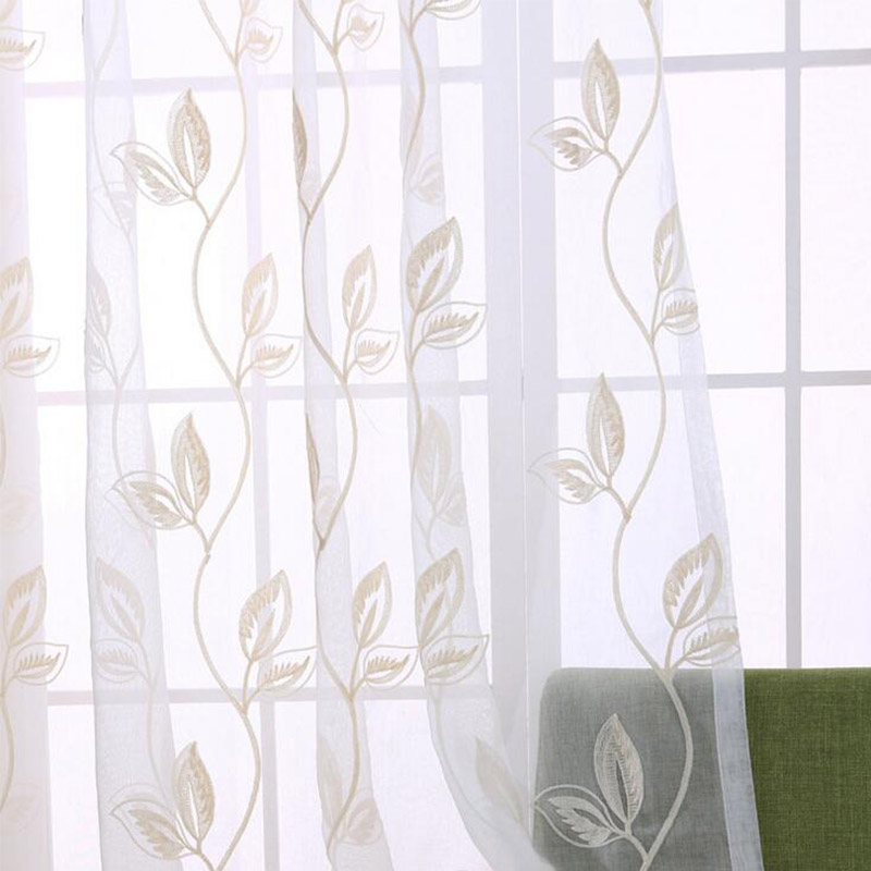 Pastoral cotton linen fabrics tulle curtains for bedroom