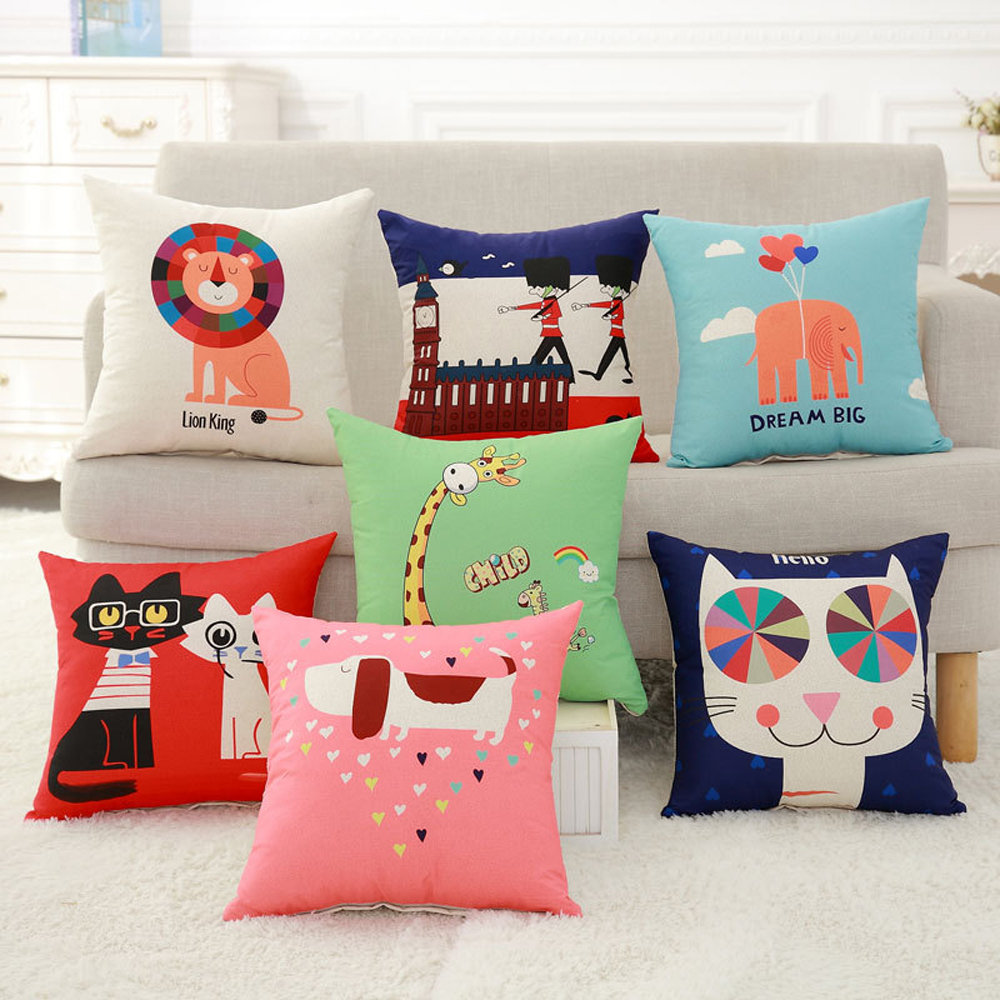 YWZN Cute Cartoon Pattern Cushion Cover Animal Cat Giraffe Elephant Decorative Pillowcase Pillow Case For Car funda de almohada