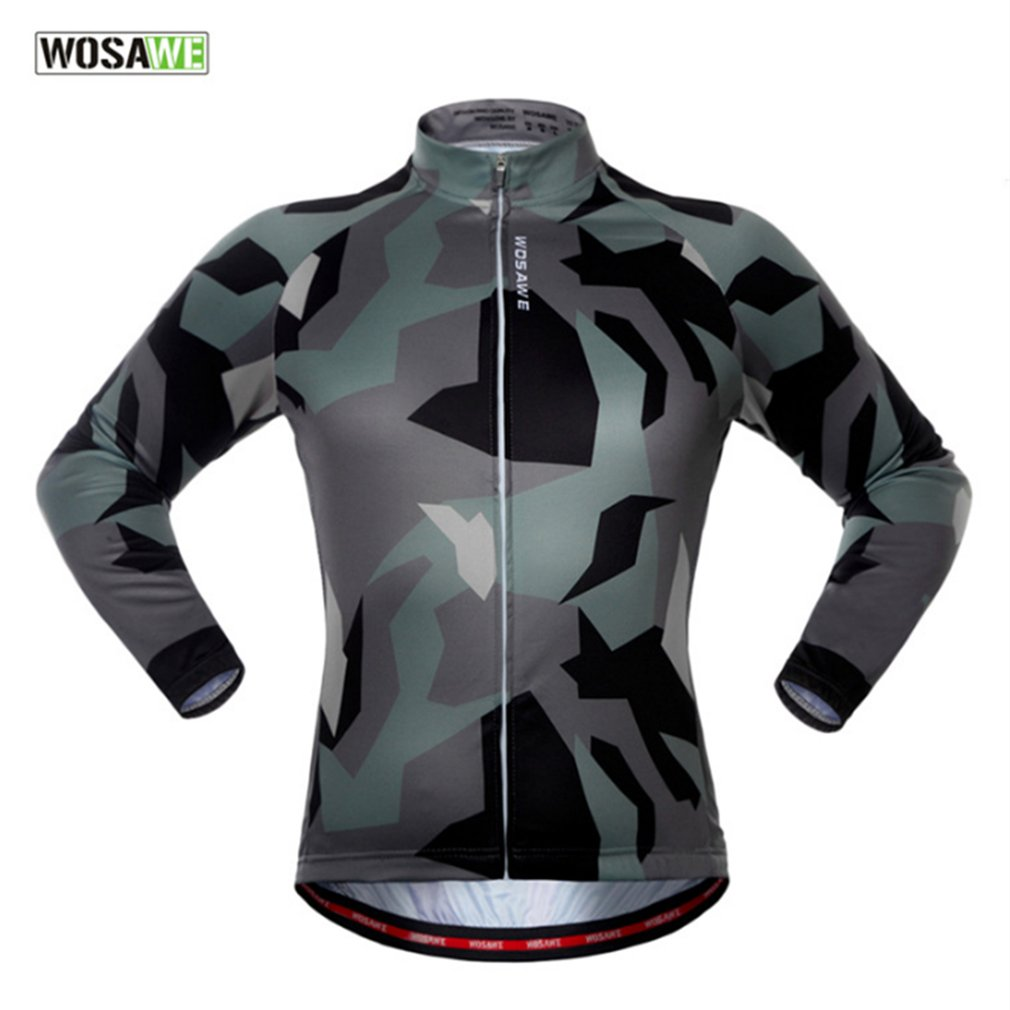 WOSAWE Camouflage Autumn and Winter Bicycle Clothing Windproof Long Sleeve Jacket Outdoor Sports Riding Cycling Jacket Hot
