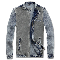 2013 Autumn Denim Slim Casual Jacket Men S Mandarin Collar Stitching Denim Jacket Male Wholesale Price