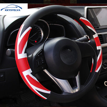 Car Covers Steering-Wheel Black Sport Steering Wheel Cover Leather Universal 38CM wheel cover