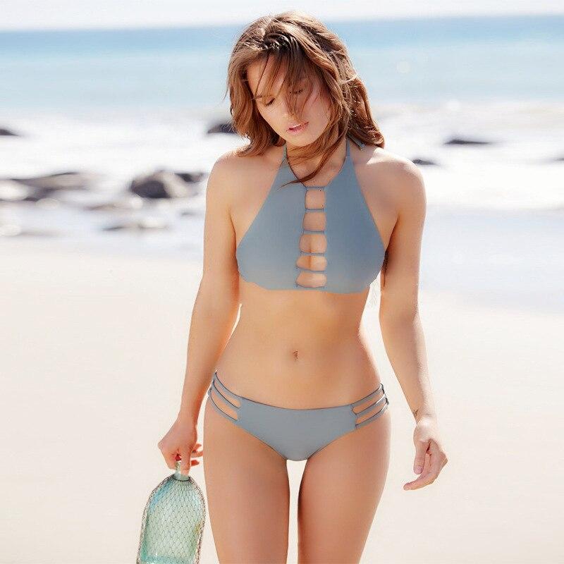 Swiming Suit Women 2018 Summer Sexy Solid Bandage Swim Wear Swimwear Backless Bodysuit High Elastic Push Up Bikini Set
