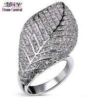 DreamCarnival 1989 Large Leaf Shape Rings For Women Clear White Stones Wedding Female Jewelry Rhodium Gold