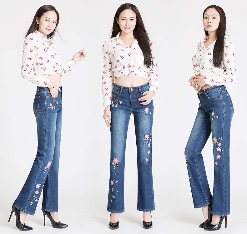 KSTUN Jeans Woman with Embroidery Winter Warm Fleece Heat Insulated Jeans Stretch High Waisted