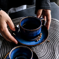 Deep Blue Ceramic Coffee Cup Saucer Set Cat Eye Cup Afternoon Tea Antique Blue Color Espresso Coffee Set Gift Free Shipping