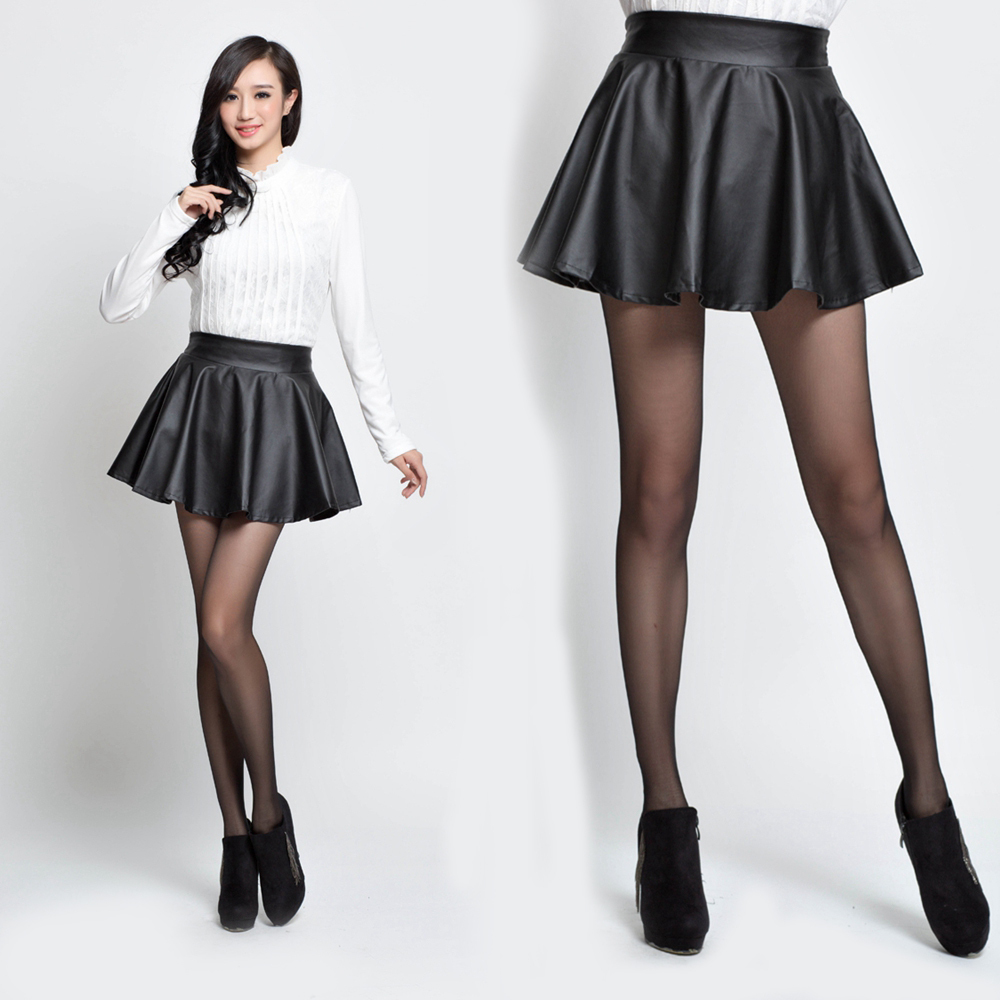 Aliexpress.com : Buy women black leather skater skirt Autumn ...