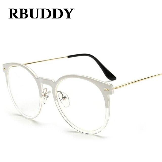 ec71d0183c1ee Rbuddy metal redondo Marcos mujeres lente transparente Gafas moda hombres  transparente ojo Gafas óptica Gafas Marcos